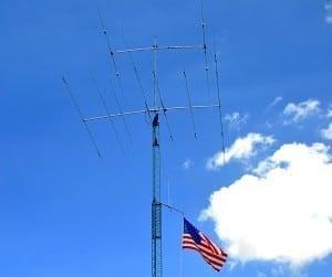 Antenna array beams signal directionally to communicate over great distances.