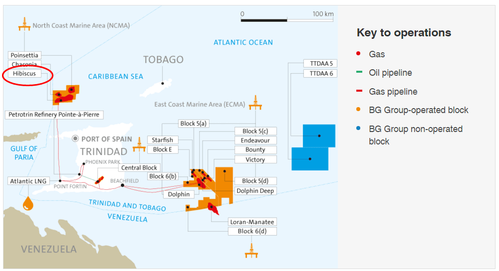 Hibiscus Gas Platform circled in red at top left.