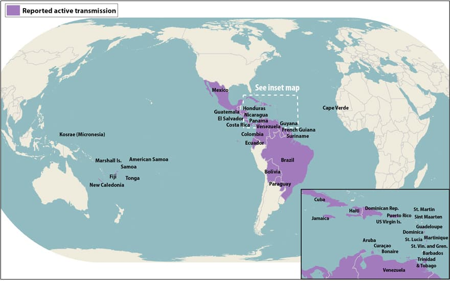 Zika spread map